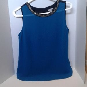 Guess sleeveless black and blue blouse with beads